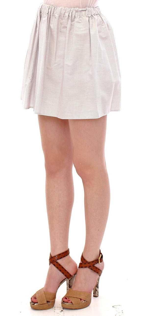 White Cotton Checkered Stretch Skirt