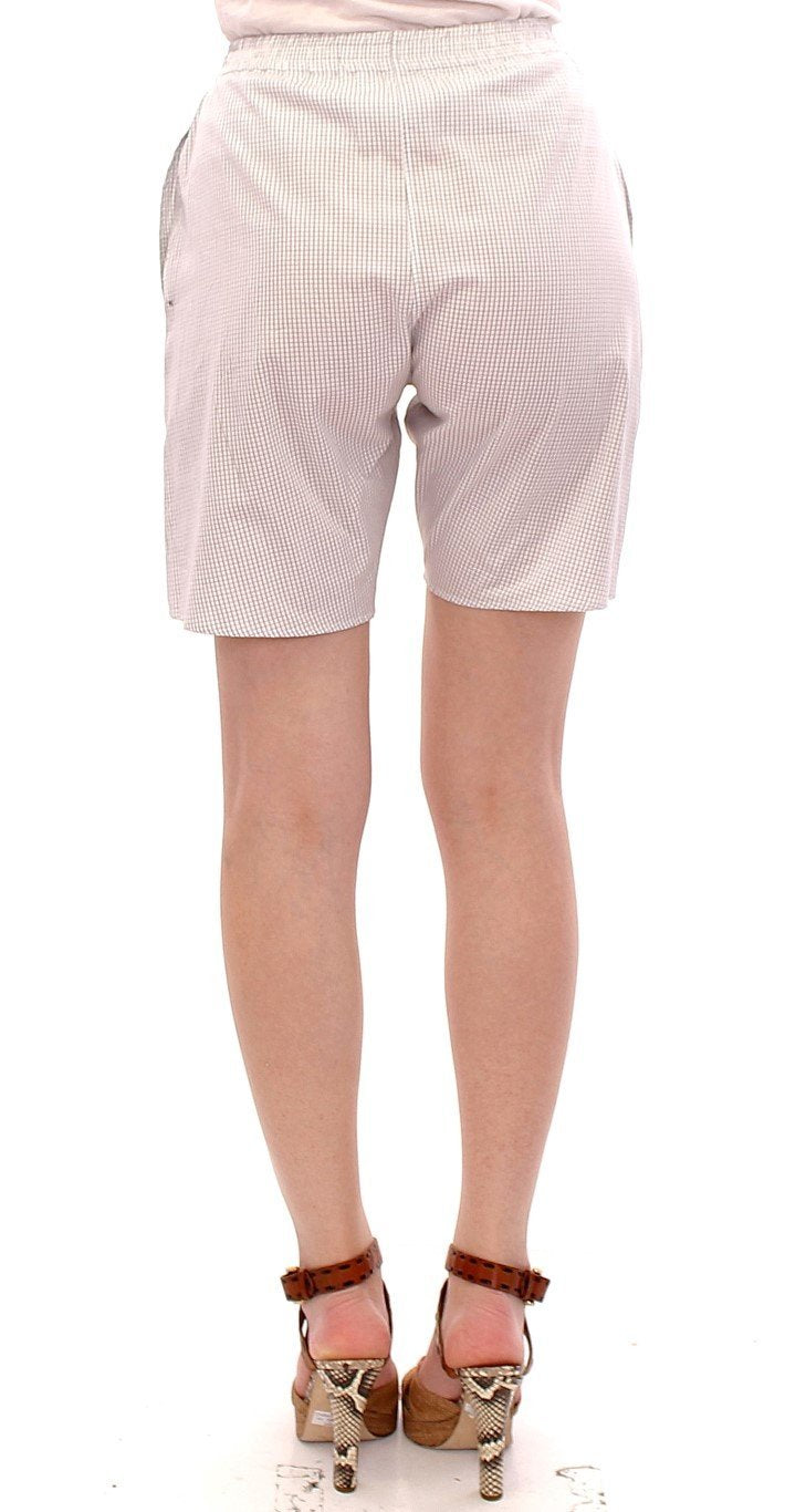 White Checkered Stretch Cotton Shorts