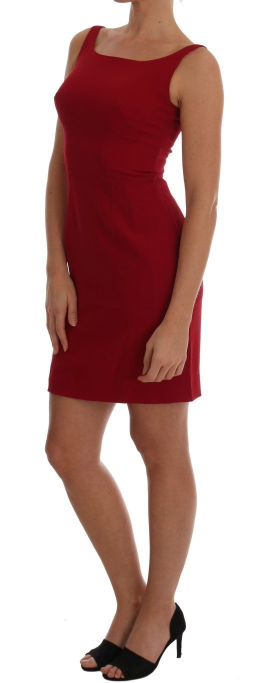 Red Stretch Sheath Above Length Dress