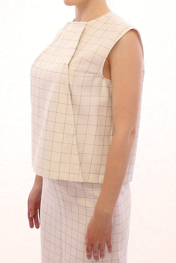 White Cotton Checkered Shirt Top