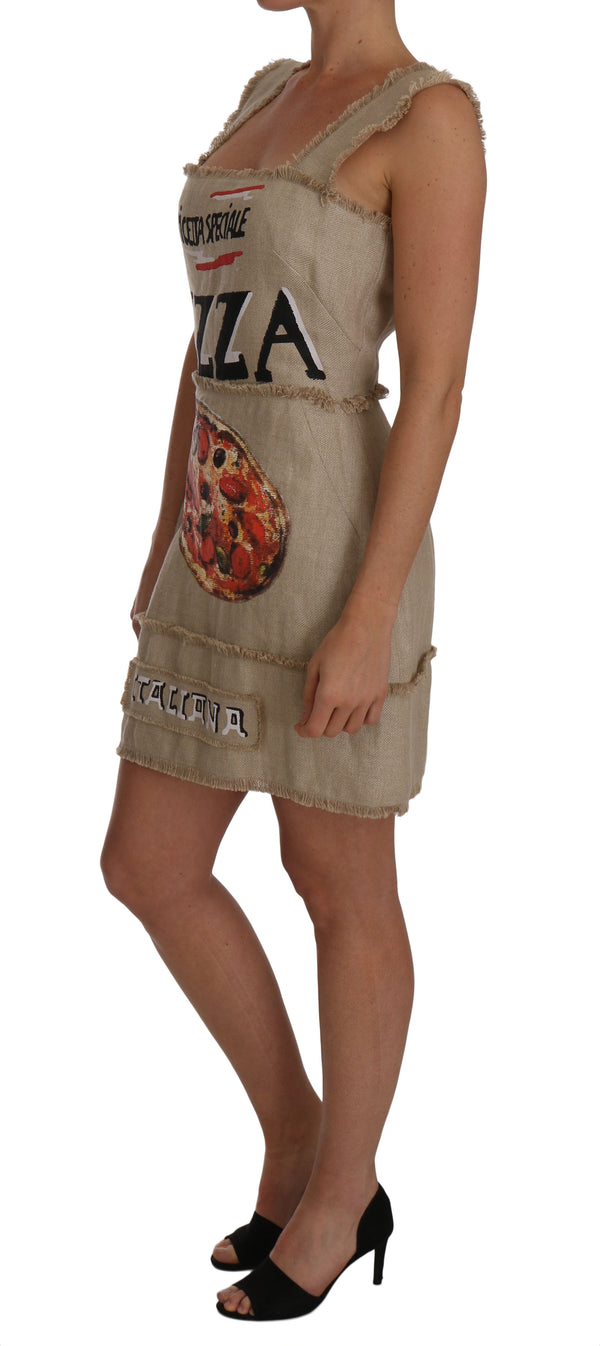 Beige PIZZA Italiana A-line Shift Dress