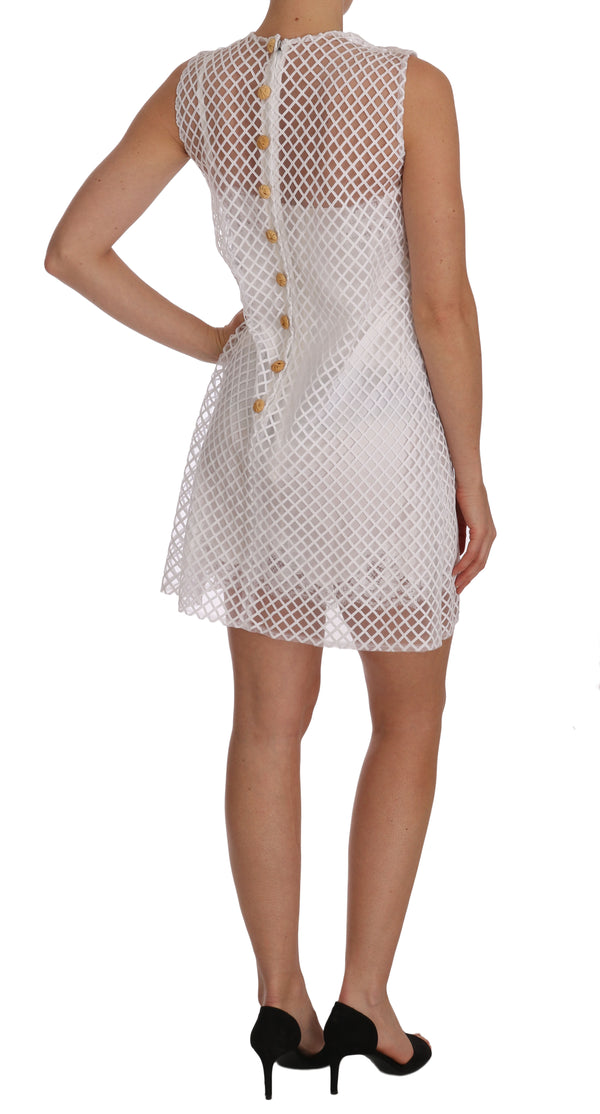 White Pineapple Sequined Applique Dress