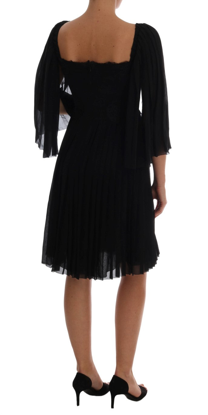 Black Silk Floral Lace Dress