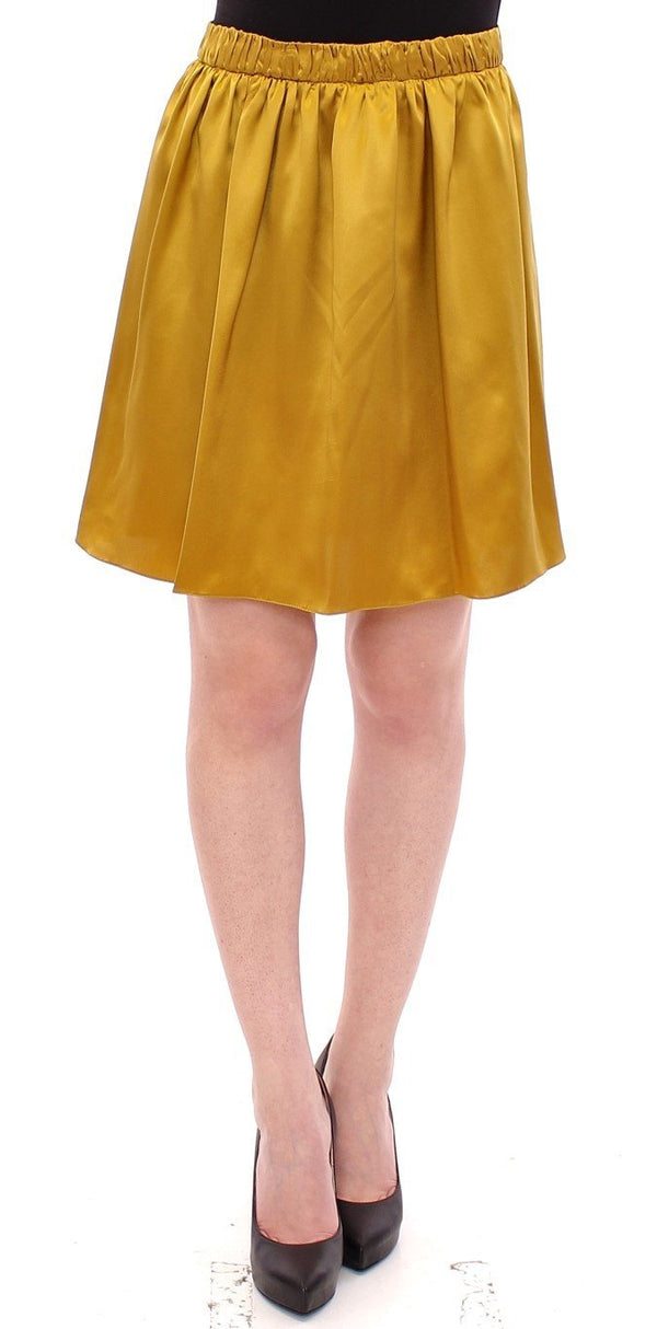 Gold Silk Solid Mini A-Line Skirt
