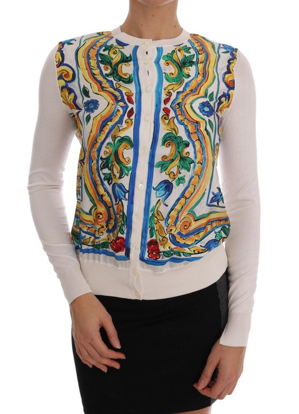Majolica Print Silk Cardigan Sweater