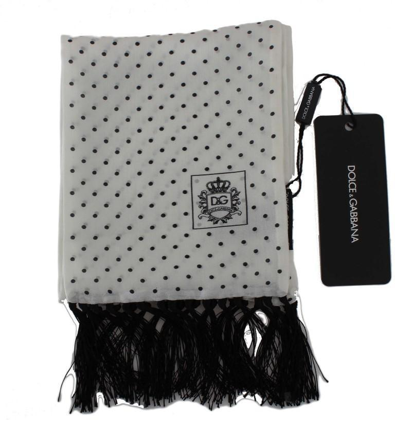 White Black Polka Dot Silk Scarf
