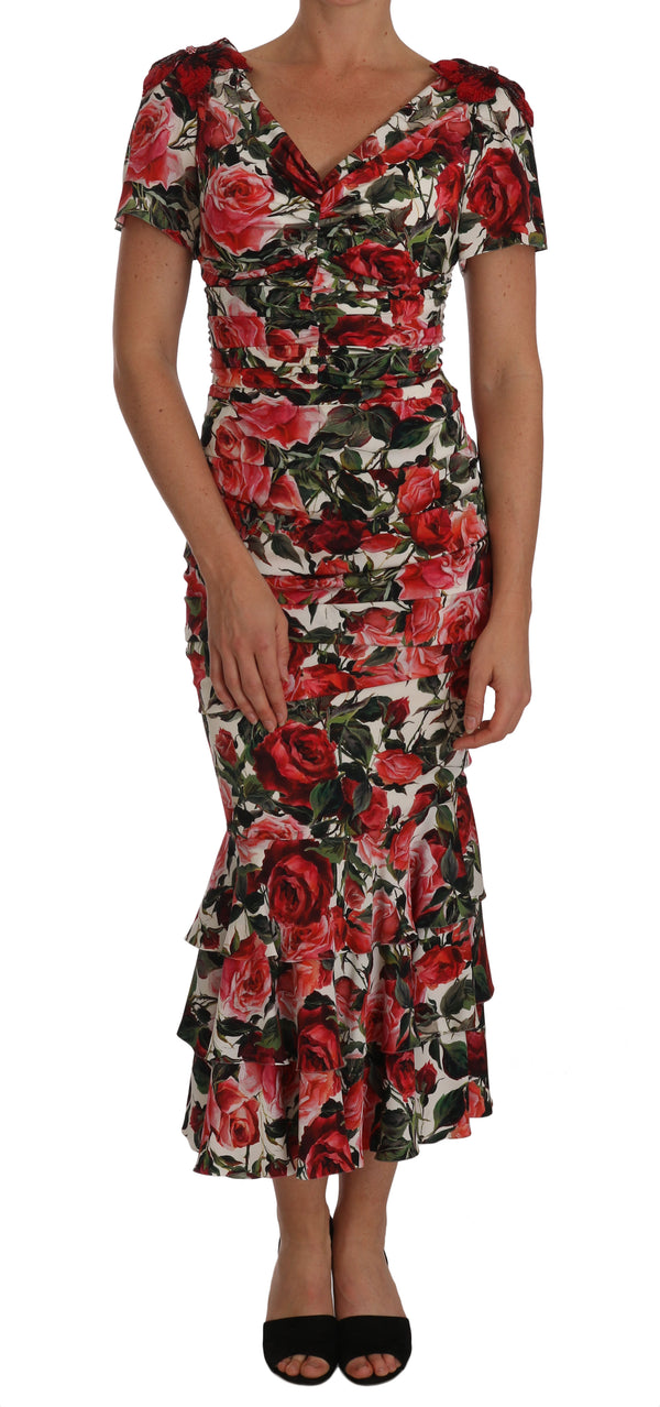 Silk Stretch Red Roses Sheath Gown