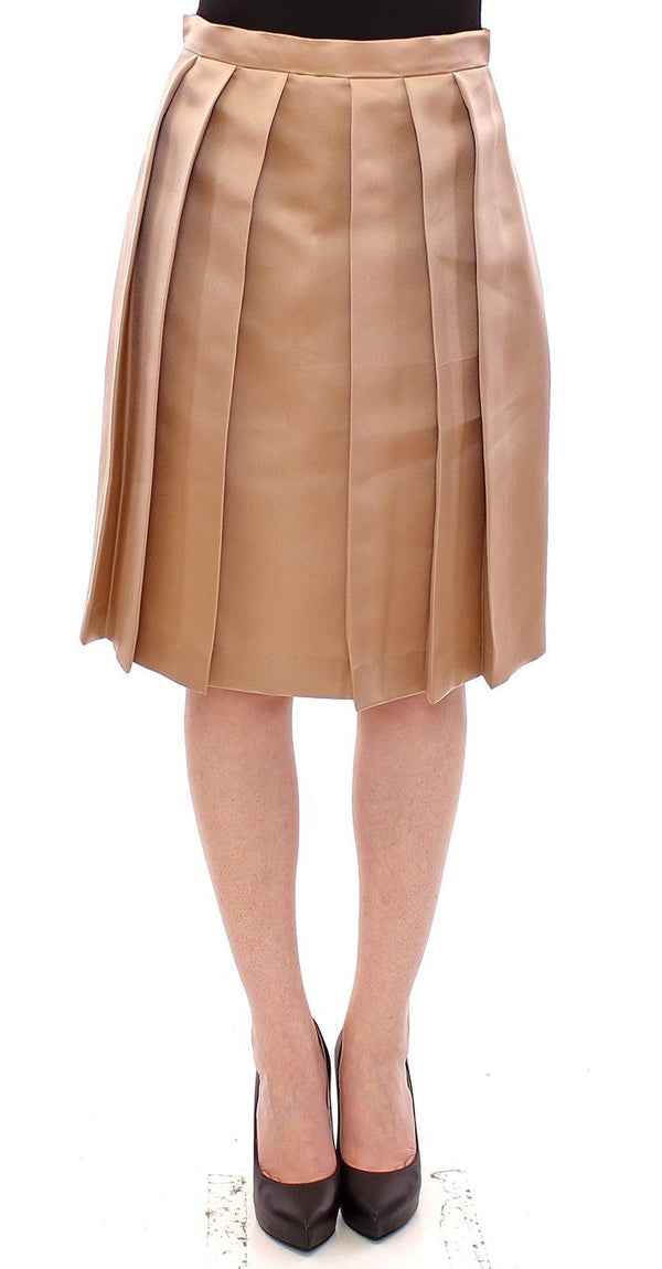 Brown Silk Solid Mini Pleated Skirt
