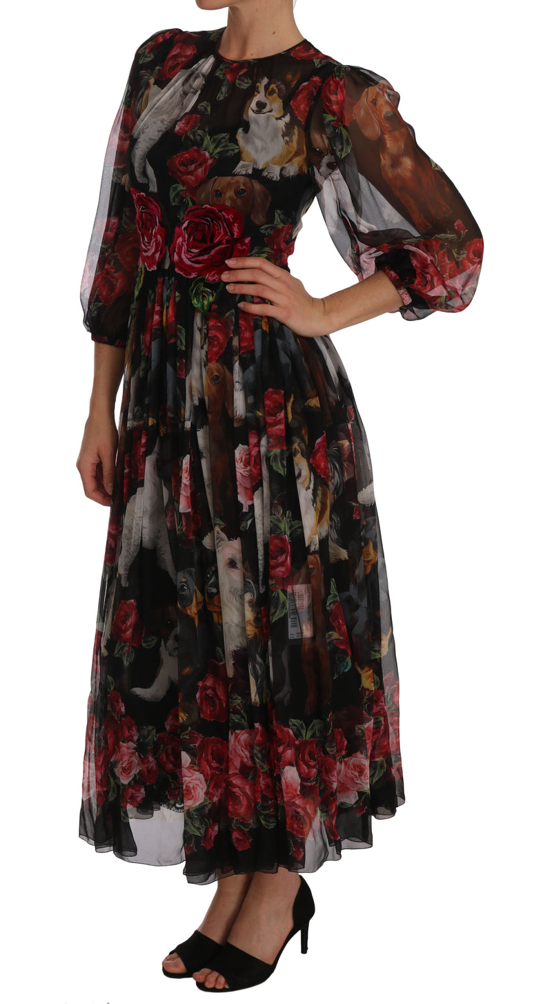 Silk Dog Roses Black Shift A-line Dress