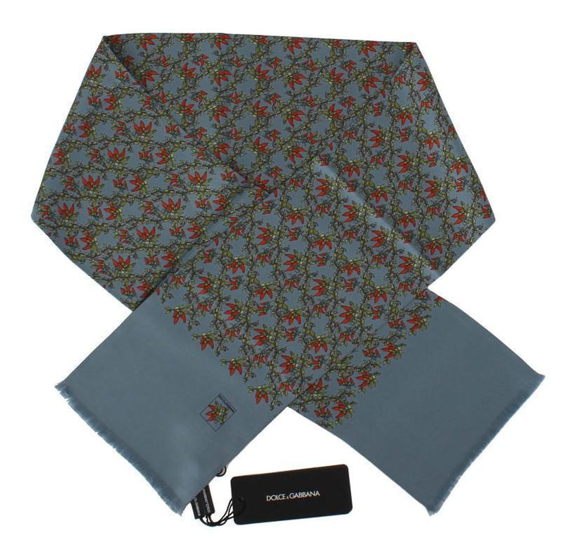 Blue Floral Pattern Silk Scarf