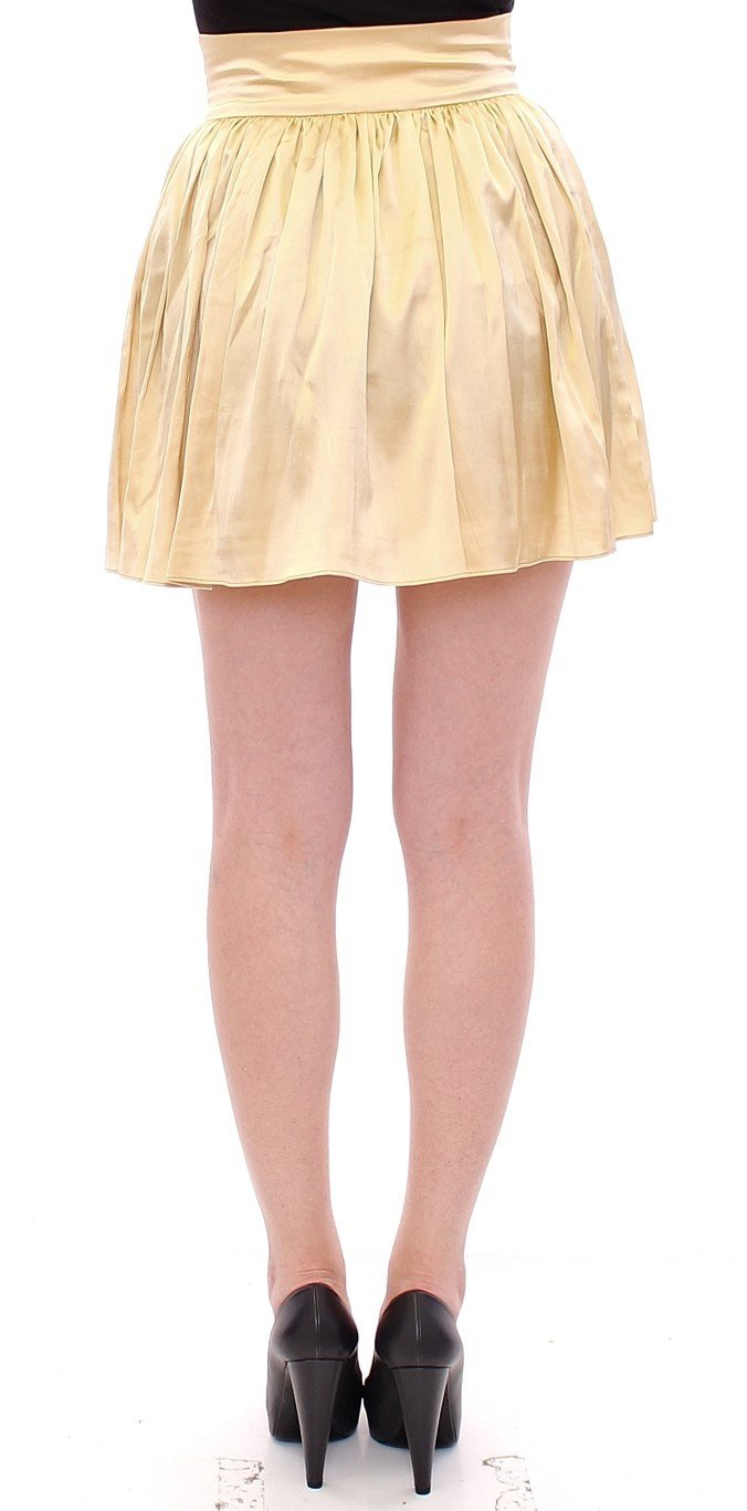 Beige Floral Embroidery Mini Skirt