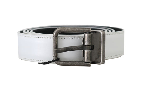 White Leather Brushed Buckle Mens Belt
