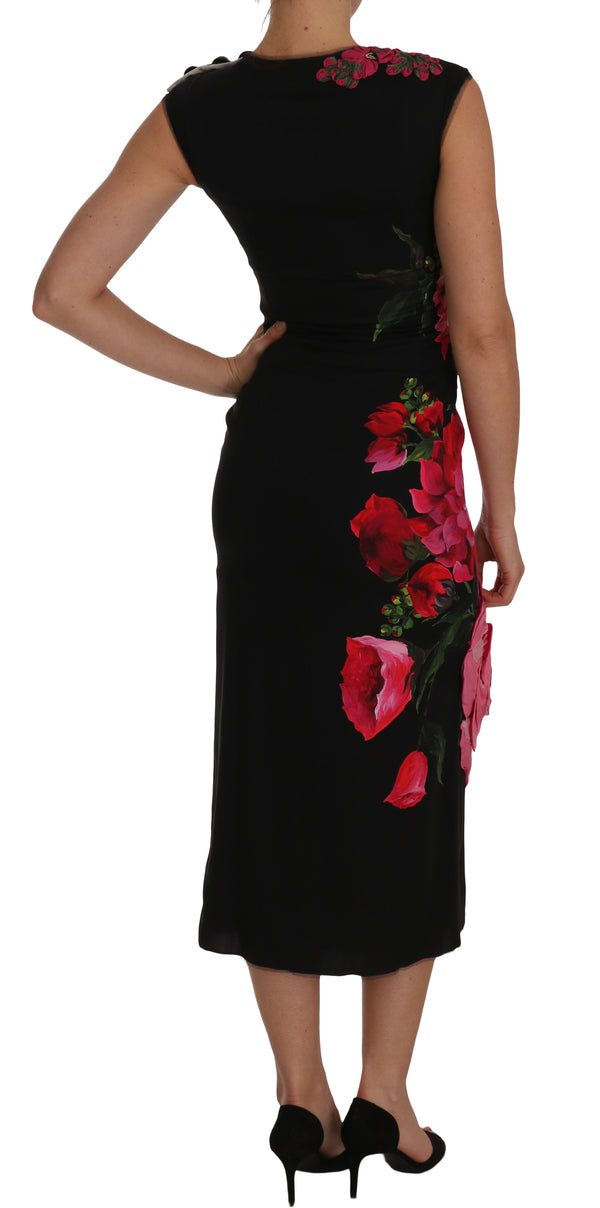 Black Floral Appliqe Sheath Silk Dress