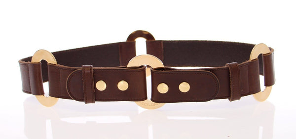 Brown Leather Logo Gold Belt