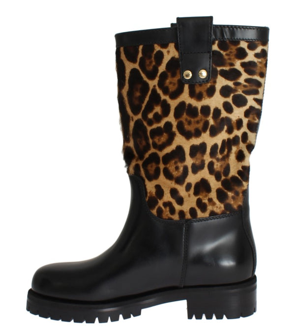Black Leather Leopard Print Hair Boots