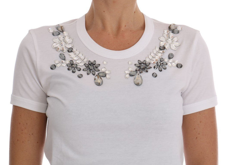White Cotton Crystal T-Shirt