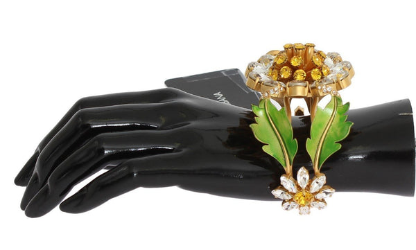 Gold MARHERITE Crystal Sunflower Bangle Bracelet