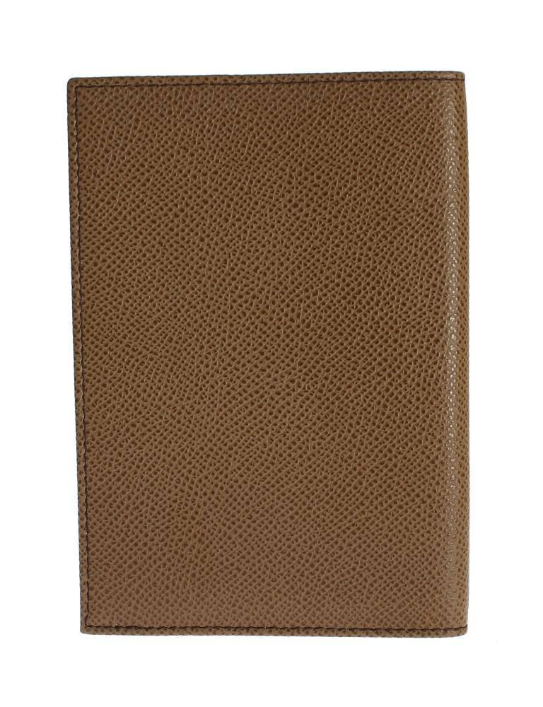 Beige Leather ID Passport Wallet Holder