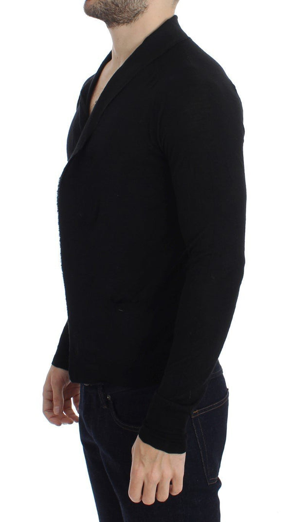 Black Fine Wool Button Cardigan