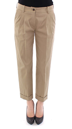 Beige Cotton Cropped Chinos Pants