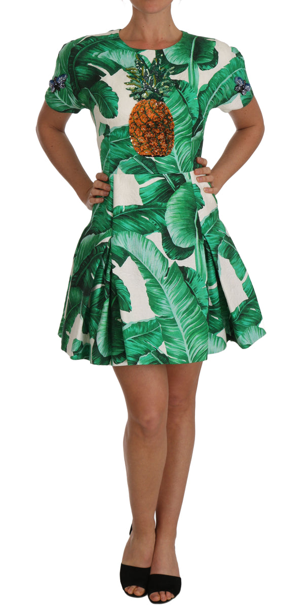 A-Line Banana Leaf Pineapple Crystal Dress