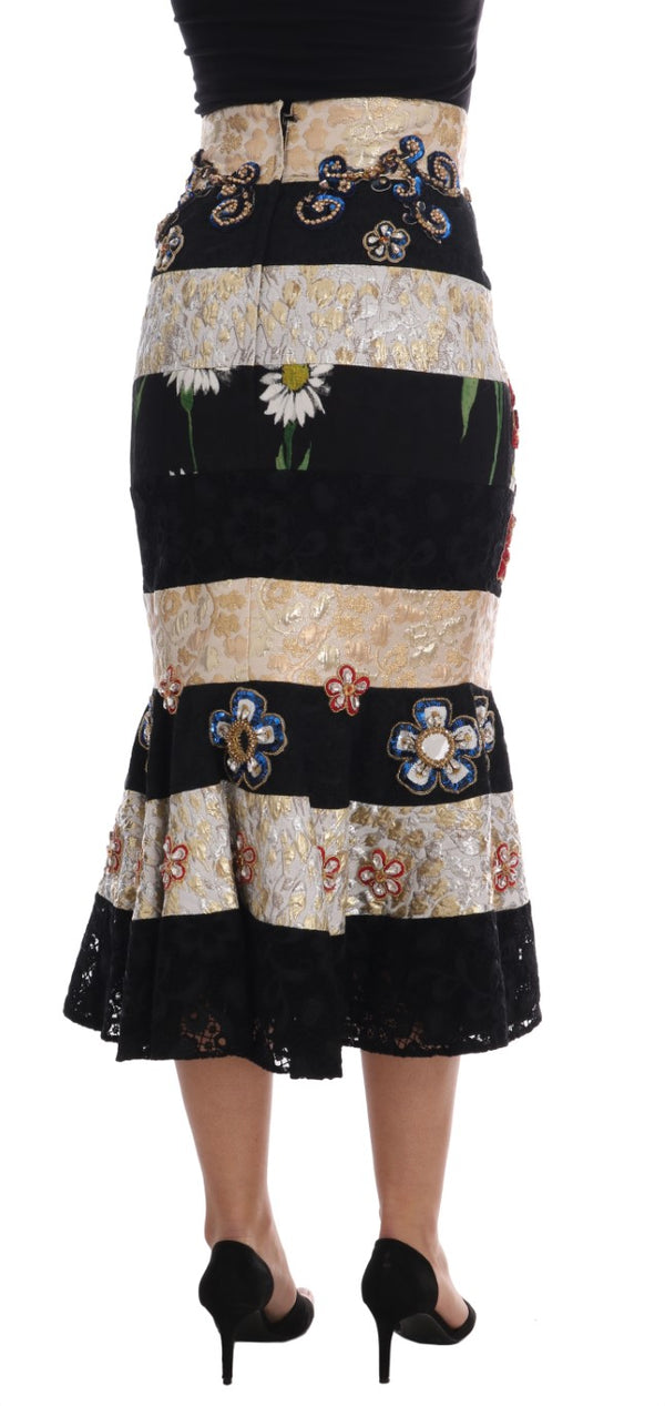 Crystal Carretto Black Gold Lace Skirt