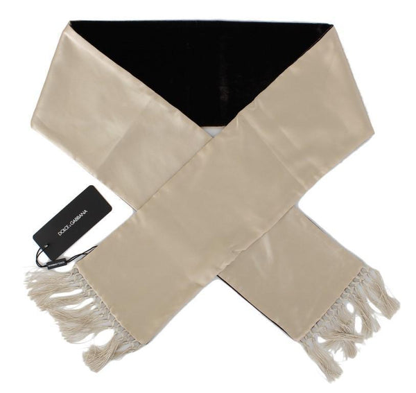 Beige Brown Silk Scarf
