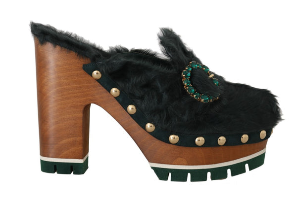 Black Green Xiangao Fur Crystal Mules