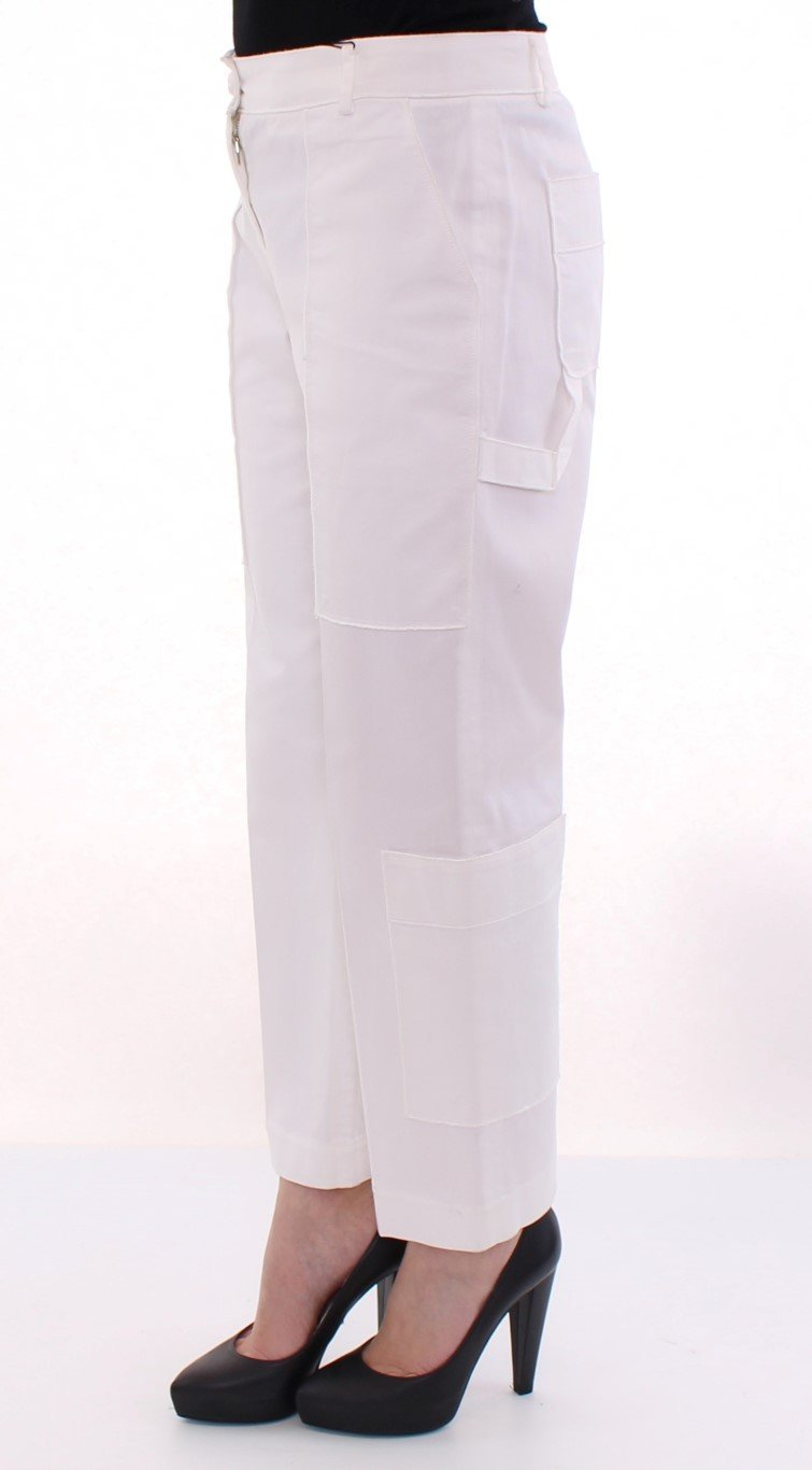 White Cotton Cropped Cargo Pants