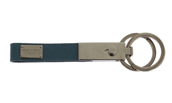 Blue Leather Silver Brass Keychain