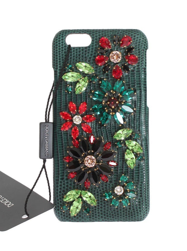 Green Leather Crystal Flower Phone Case