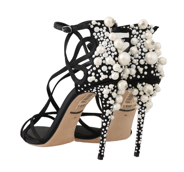 Black Lace Silk Pearl Sandals
