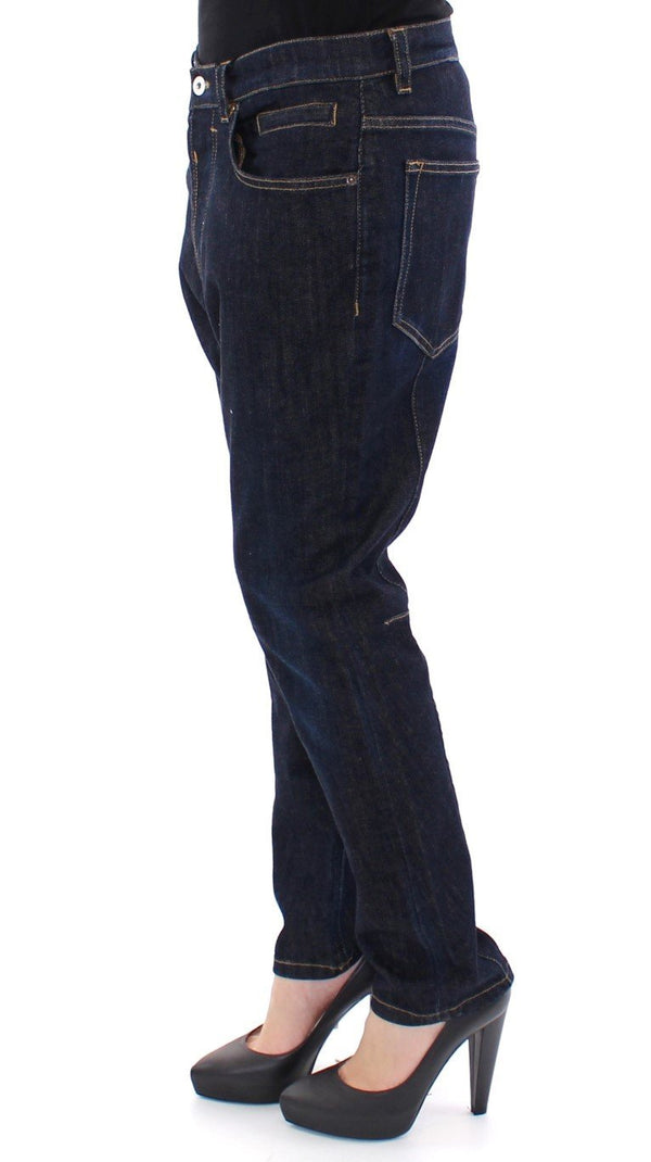 Blue Cotton Logo Baggy Fit Jeans Pants