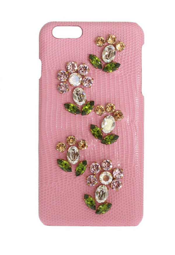 Pink Leather Crystal Flower Phone Case