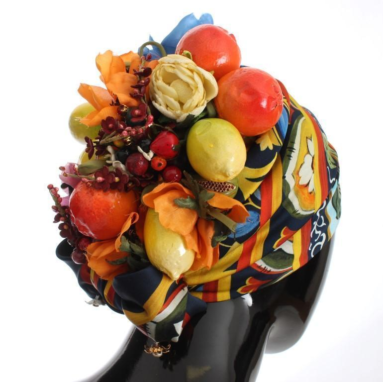 Floral Fruit Roses Crystal Silk Headwear Turbane
