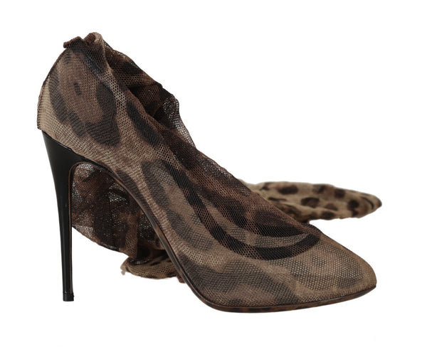 Brown Leopard Tulle Long Socks Pumps