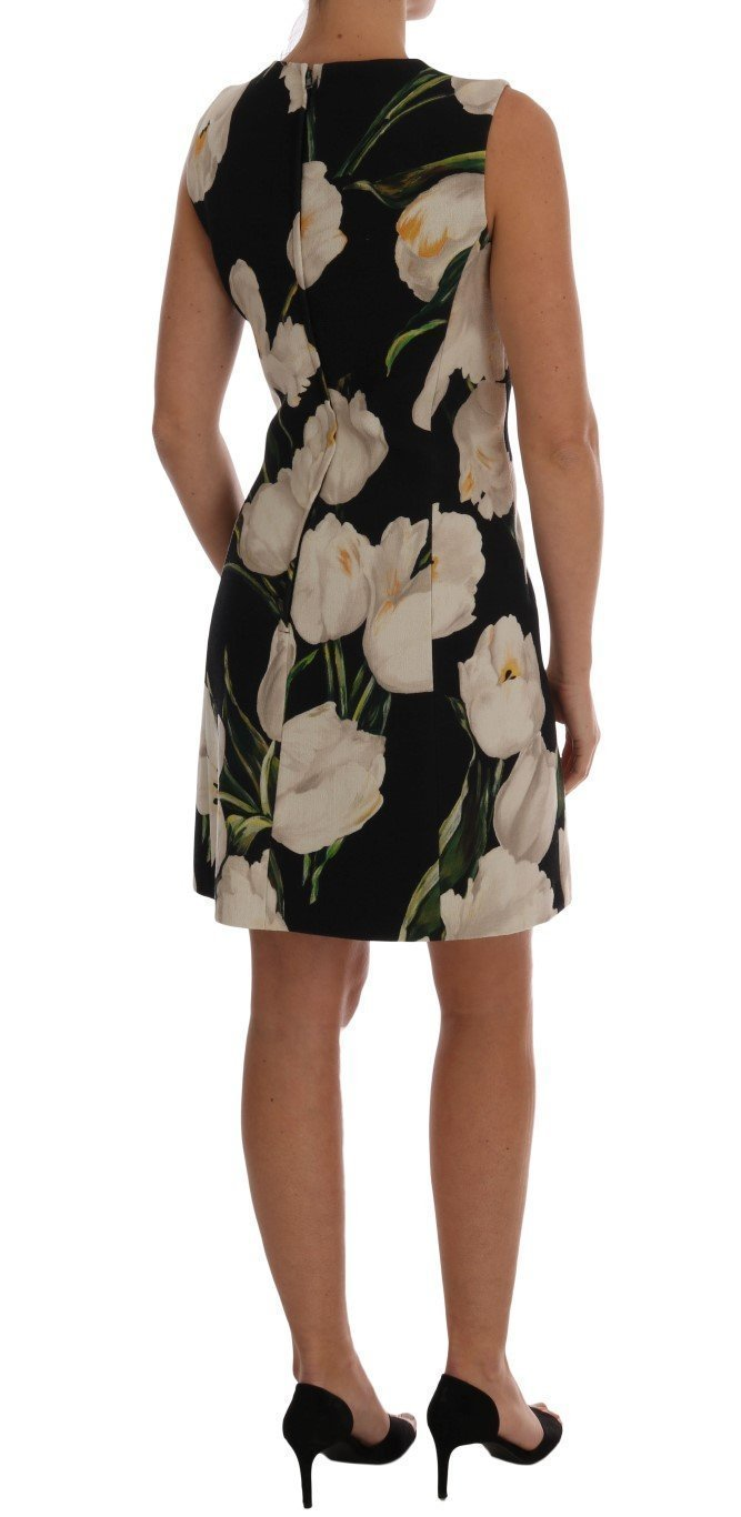 Black White Tulip Print Wool Dress