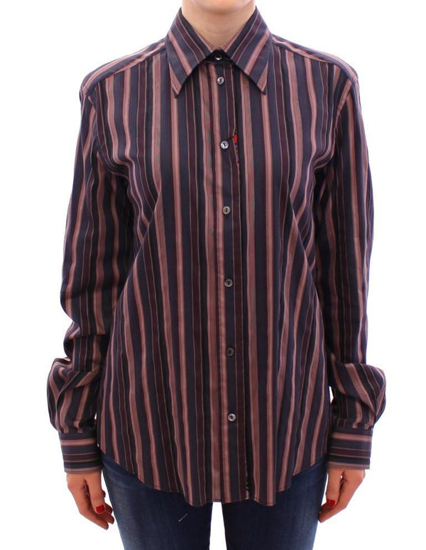 Multicolor Striped Floral Cotton Shirt
