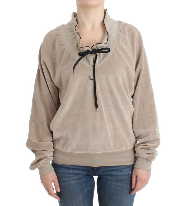 Beige velvet cotton sweater