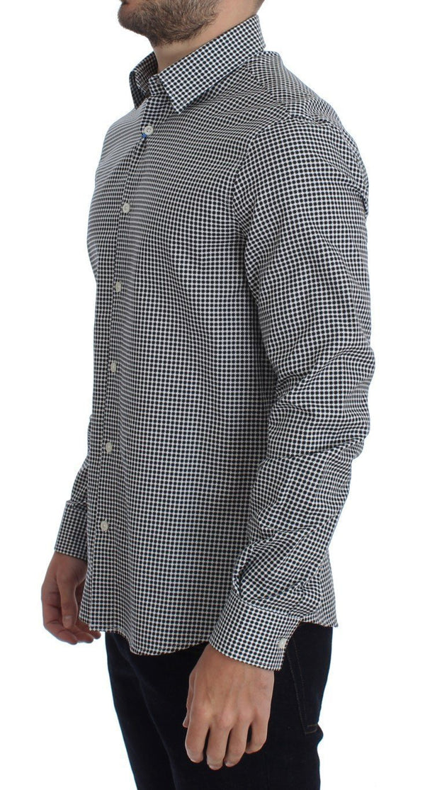 Black White Slim Fit Cotton Shirt