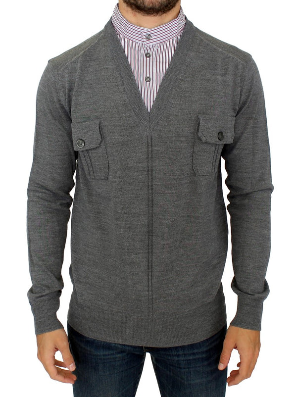 Gray v-neck pullover sweater