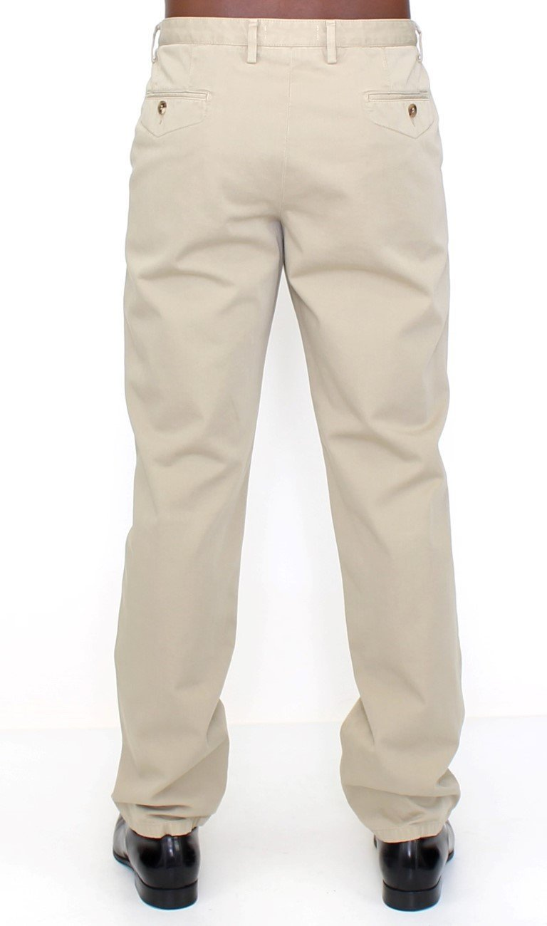 Beige Cotton Casual Chinos Pants