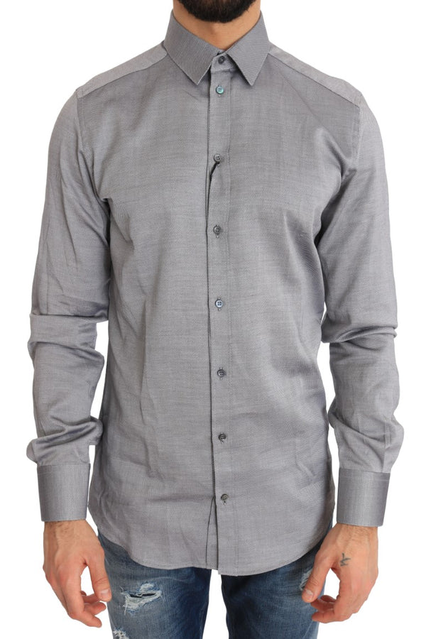 Gray Patterned Cotton GOLD Slim Shirt