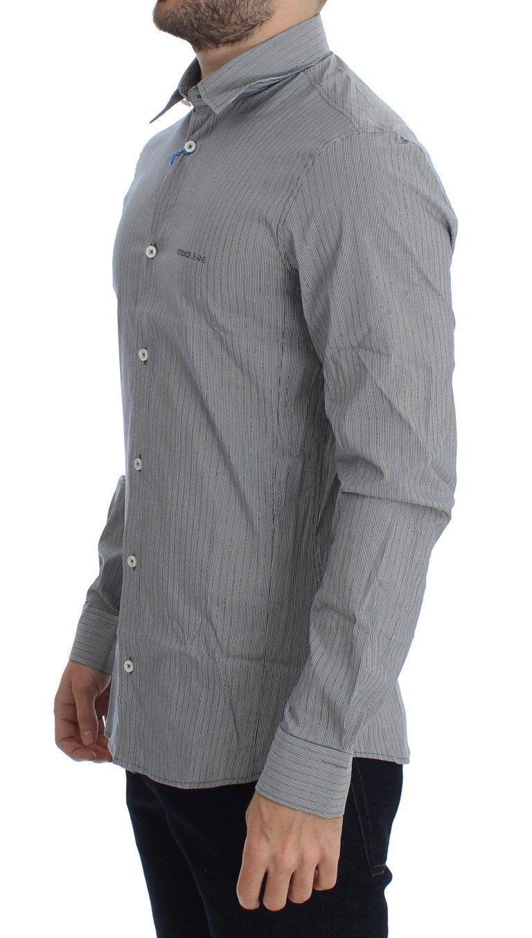 Gray Striped Slim Fit Cotton Shirt