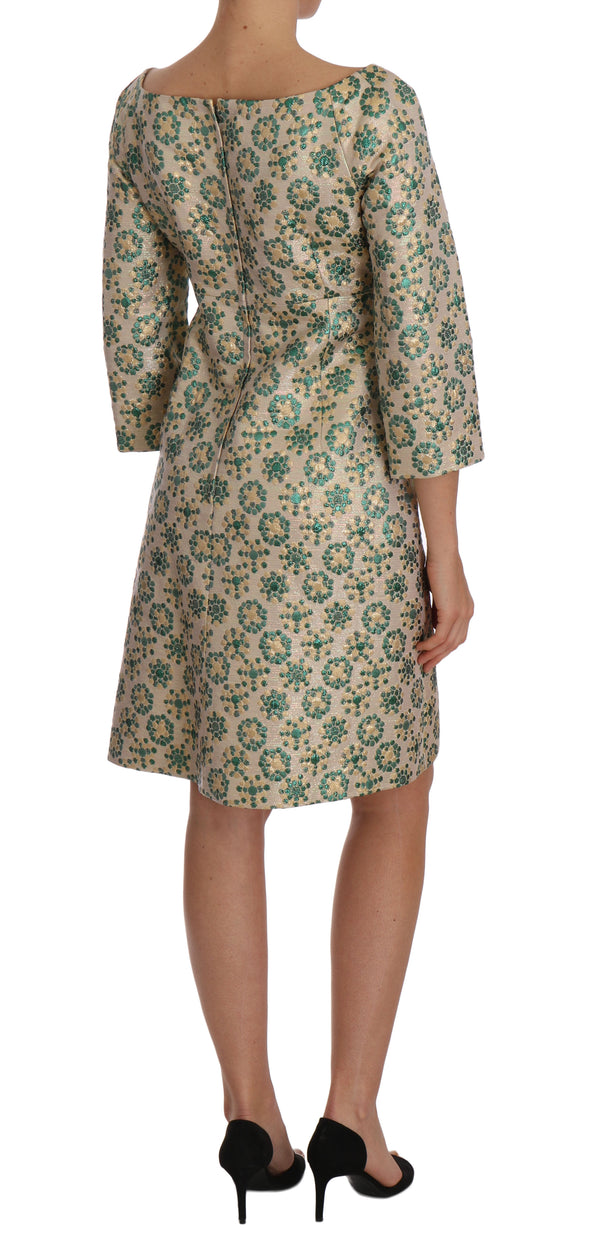 Beige Green Jacquard Saluti Da Capri Dress