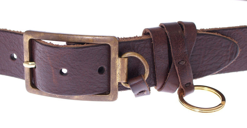 Brown Leather Logo Waist Gold Buckle Belt
