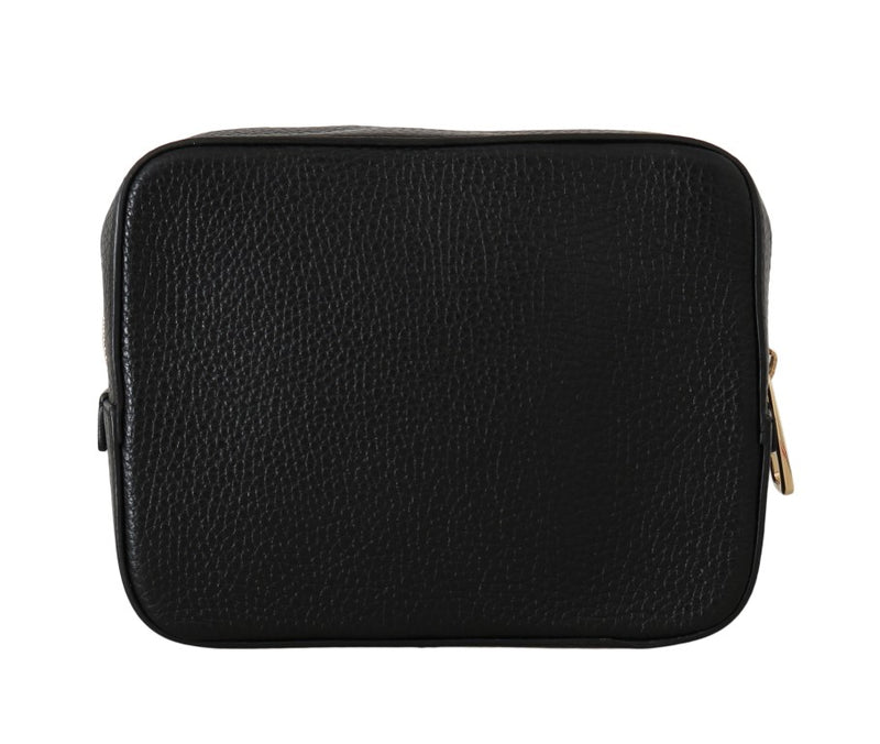 Black Leather Clutch Zipper Toiletry Bag