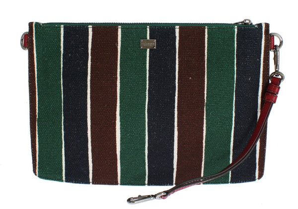 Multicolor Striped Linen Leather Organizer Hand Bag