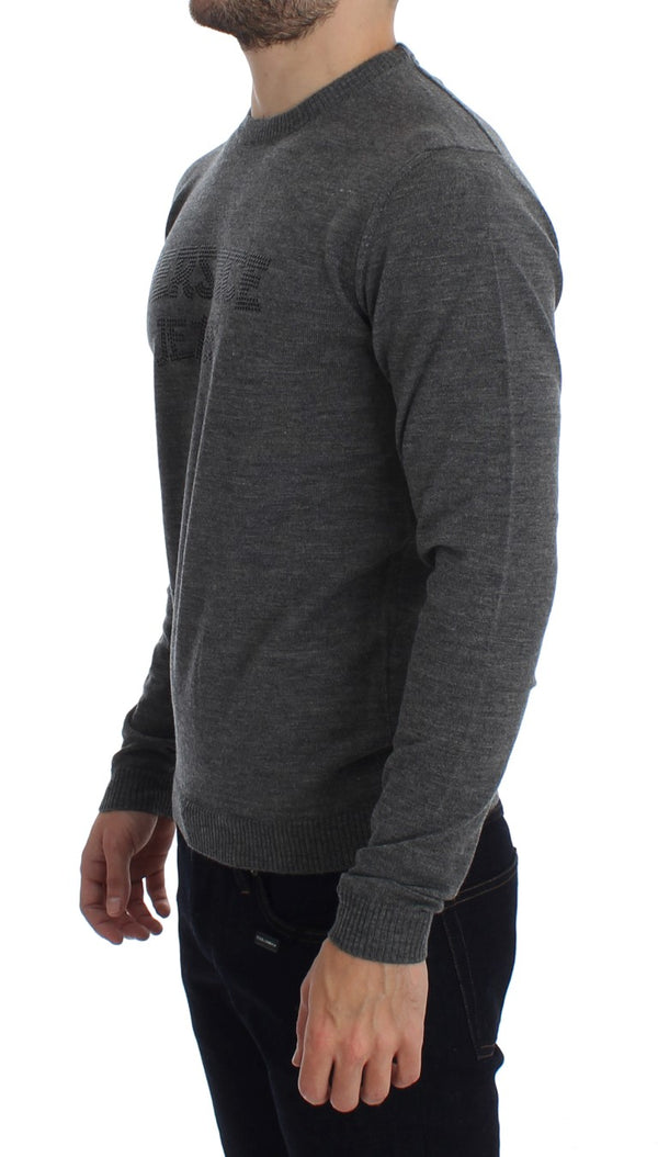 Gray Wool Crew-neck Pullover Sweater