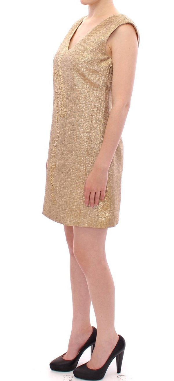 Gold Sleeveless Shift Mini Dress